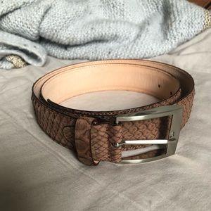 New Men's Italian Snake Skin Taupe Brown Belt